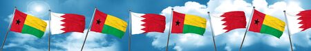 Guinea bissau flag with Bahrain flag, 3D rendering