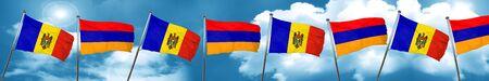 armenian: Moldova flag with Armenia flag, 3D rendering