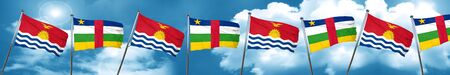 Kiribati flag with Central African Republic flag, 3D rendering Stock Photo