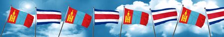 Mongolia flag with Costa Rica flag, 3D rendering Stock Photo