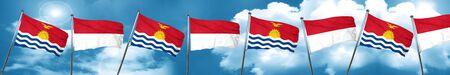 kiribati: Kiribati flag with Indonesia flag, 3D rendering Stock Photo