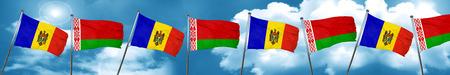 moldova: Moldova flag with Belarus flag, 3D rendering