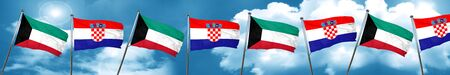 Kuwait flag with Croatia flag, 3D rendering