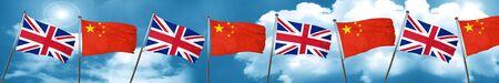 bandera de gran bretaña: Great britain flag with China flag, 3D rendering