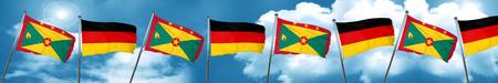 grenada: Grenada flag with Germany flag, 3D rendering