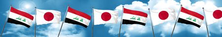iraqi: Iraq flag with Japan flag, 3D rendering