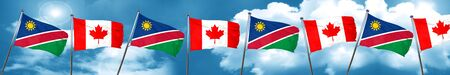 Namibia flag with Canada flag, 3D rendering
