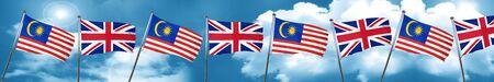 bandera de gran bretaña: Malaysia flag with Great Britain flag, 3D rendering