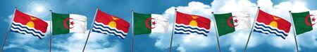 Kiribati flag with Algeria flag, 3D rendering