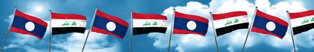 Laos flag with Iraq flag, 3D rendering