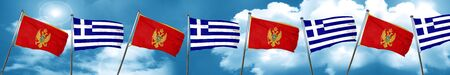 Montenegro flag with Greece flag, 3D rendering