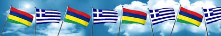 Mauritius flag with Greece flag, 3D rendering