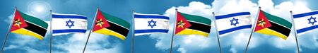 Mozambique flag with Israel flag, 3D rendering Stock Photo