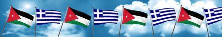 Jordan flag with Greece flag, 3D rendering Stock Photo