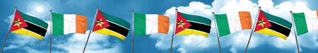 Mozambique flag with Ireland flag, 3D rendering
