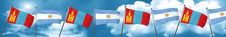 Bandera de Mongolia con bandera argentina, 3D