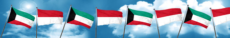 Kuwait flag with Indonesia flag, 3D rendering