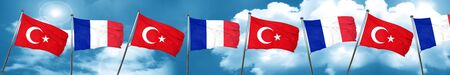 Turkey flag with France flag, 3D rendering