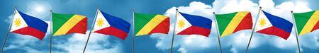 philippino: Philippines flag with congo flag, 3D rendering