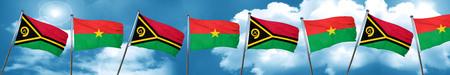 Vanatu flag with Burkina Faso flag, 3D rendering