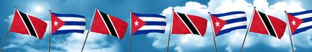 cuban culture: Trinidad and tobago flag with cuba flag, 3D rendering Stock Photo