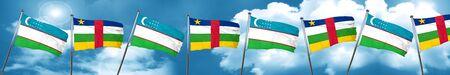 combines: Uzbekistan flag with Central African Republic flag, 3D rendering