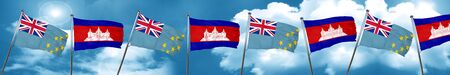 Tuvalu flag with Cambodia flag, 3D rendering Stock Photo
