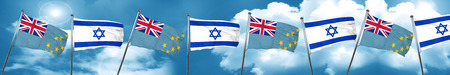israel flag: Tuvalu flag with Israel flag, 3D rendering