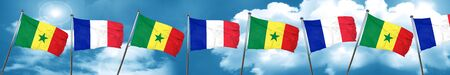 french culture: Senegal flag with France flag, 3D rendering