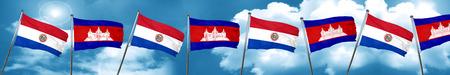 bandera de paraguay: Paraguay flag with Cambodia flag, 3D rendering Foto de archivo