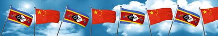 Swaziland flag with China flag, 3D rendering