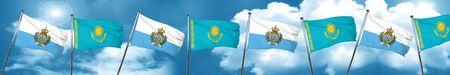combines: san marino flag with Kazakhstan flag, 3D rendering Foto de archivo
