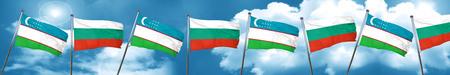 Uzbekistan flag with Bulgaria flag, 3D rendering