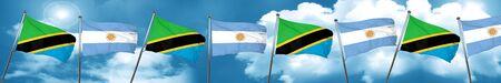 Bandera de Tanzania con bandera argentina, 3D