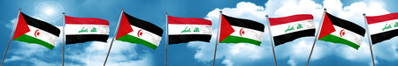 Western sahara flag with Iraq flag, 3D rendering Stock Photo