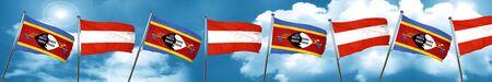 Bandera de Suazilandia con la bandera de Austria, representación 3D
