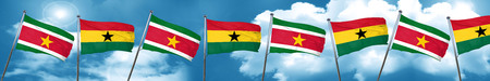 Suriname flag with Ghana flag, 3D rendering