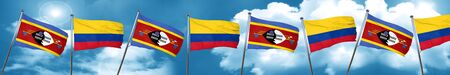 Swaziland flag with Colombia flag, 3D rendering Stock Photo