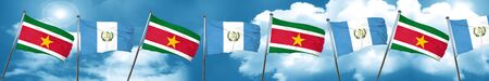 Suriname flag with Guatemala flag, 3D rendering Stock Photo