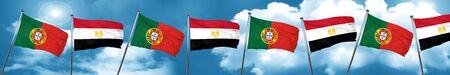drapeau portugal: Portugal drapeau avec le drapeau egypte, rendu 3D
