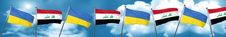 Ukraine flag with Iraq flag, 3D rendering