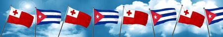 bandera de cuba: Tonga flag with cuba flag, 3D rendering