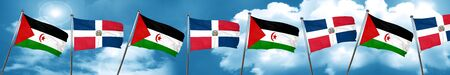 Western sahara flag with Dominican Republic flag, 3D rendering