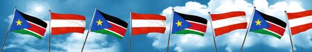 south sudan flag with Austria flag, 3D rendering Stock Photo