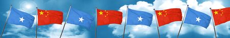 Somalia flag with China flag, 3D rendering