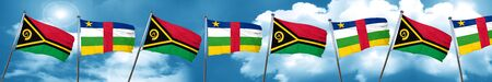 Vanatu flag with Central African Republic flag, 3D rendering Stock Photo