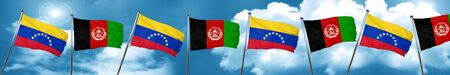Venezuela flag with afghanistan flag, 3D rendering