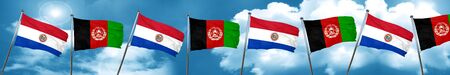 Paraguay flag with afghanistan flag, 3D rendering