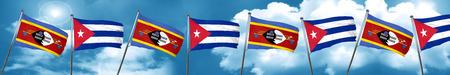 bandera de cuba: Swaziland flag with cuba flag, 3D rendering