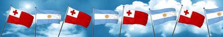 tonga: Tonga flag with Argentine flag, 3D rendering Stock Photo